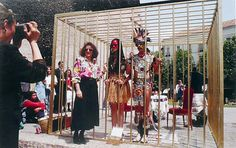 Guillermo Gomez-Pena and Coco Fusco performing Two Undiscovered Amerindians Visit Madrid (1992) #chicano