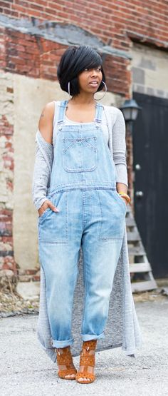 Gap overalls, long cardigan, Indanapolis blog, bodysuit