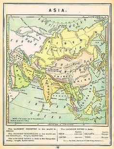 """Monteith's Antique Map - """"ASIA"""" Chromolithograph - 1884"""