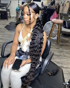 Weave Ponytail Hairstyles, Ponytail Styles, Baddie Hairstyles, Black Girls Hairstyles, Curly Hair Styles, Natural Hair Styles, Curly Ponytail, Fashion Hairstyles, School Hairstyles