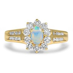 14K Yellow Gold The Erline Ring from Brilliant Earth Combining the timeless romance of an opal with the playful design of a Retro-era antique, this engagement ring features a stunning opal surrounded by twenty-six brilliant diamond accents set in 14K yellow gold (approx. 0.66 total carat weight).