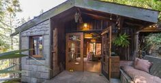 This 750 sq ft cabin cottage in Berkeley, California was once a one car garage; it has been converted and expanded into this tiny cabin cottage. | Tiny Homes