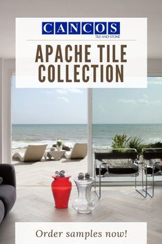 Cancos Tile & Stone Apache tile collection herringbone wood-look porcealin tile contineues from indoors to the outdoor patio. Our Apache collection is weather resistant and still beautiful enough to bring inside your home Outdoor Tiles, Porcelain Tile, Herringbone, Wind Turbine, Weather, Indoor, Patio, Collections, Living Room