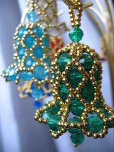 Beaded Bell Light Aqua Blue  Beaded Bell Ornaments  Pinterest