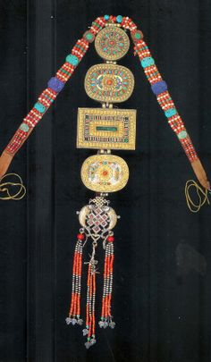 prayer box necklace  gilt bronze and silver with coral turquoise malechite lapis  Buriat group 18th c State Central Museum Mongolia
