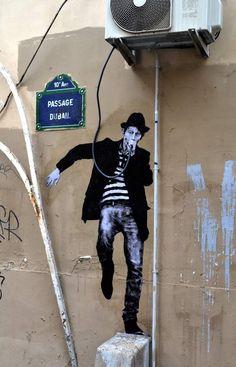 rock star by Levalet street art in Paris