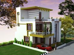 Pretty duplex (2 floors) home.Click on this link (http://www.apnaghar.co.in/pre-design-house-plan-ag-page-63.aspx) to view free floor plans (naksha) and other specifications for this design. You may be asked to signup and login. Website: www.apnaghar.co.in, Toll-Free No.- 1800-102-9440, Email: support@apnaghar.co.in