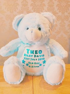 Personalised Zippie Bears. ~ Adorable keepsake toys to be loved and cherished ~ Measures 40cm approx All have zips on bottom back for easy washing and to keep pyjamas in( see our page for our personalised pyjamas). Create the perfect keepsake for a new baby, or spoil someone special!