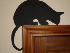 Black Cat Door Topper shelf picture frame wall art 4 variations 3 mm plywood decor black gift cat l Framed Wall Art, Wall Art Decor, Hole Drawing, Mouse Hole, Frame Shelf, Witch Cat, Cat Sitting, Black Decor, Cat Gifts