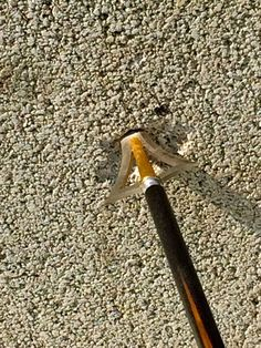 """The """"Byron Ferguson Broadhead by Schmeisser Archery"""" being shot into a cement block. There was no damage to either the broadhead or the Heavy Hunter arrow shaft.  Published from Byron Ferguson 29th May 15"""
