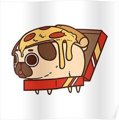 Redbubble — Them pugs 😂 Via Check out some more. Cute Animal Drawings, Kawaii Drawings, Pug Gordo, Pizza Kunst, Fat Pug, Pug Wallpaper, Pug Cartoon, Pizza Cartoon, Art Kawaii