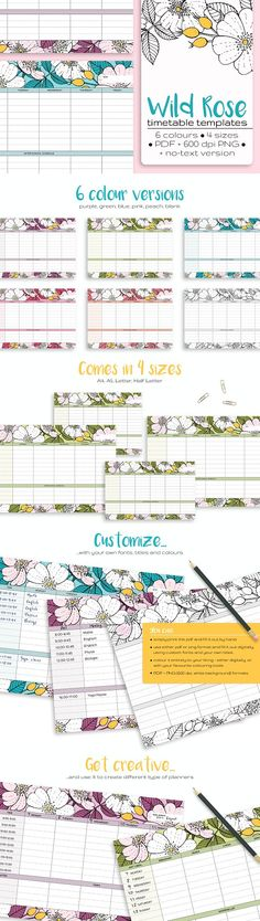 SALE - Wild Rose Timetable Templates by annabellak on @creativemarket