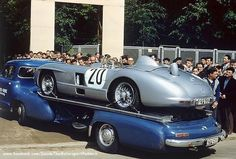 1955 Le Mans 24h, entered paddock, Daimler-Benz AG transporter with the Mercedes-Benz 300 SLR nr20 (Levegh-Fitch) dnf (Fatal accident) . ©?? . # Inside The Motorsport Paddock #