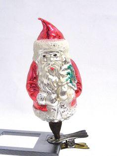 Glas Christbaumschmuck um 1900 Weihnachtsmann Guter Originalzustand. Höhe 7,5 cm $25.00