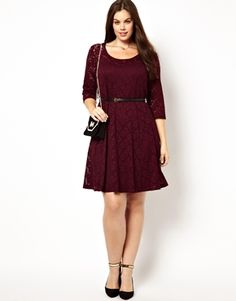 New Look Inspire Plus Size 3/4 Sleeve Lace Skater Dress