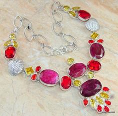 Indian Red Diadem faceted Ruby Sterling Silver necklace price: $199.13 #Popular #Jewelry #Fashion