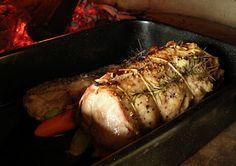 Pork Loin roasted with herbs - lombinho de porco com ervas assado no forno a lenha