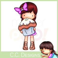 C.C. Designs Rubber Stamp - Sugarplums Cupcake Emma   - How adorable is she?  Now available @ MarkerPOP.com