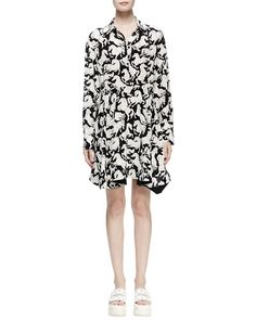 B31WG Stella McCartney Lelia Horse-Print Shirtdress, Black