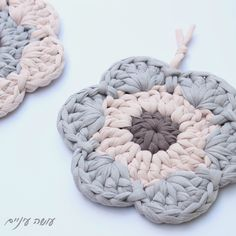Make eye - under-bottom project for knitted crochet . Yarn Flowers, Crochet Flowers, Crochet Potholders, Crochet Doilies, Love Crochet, Crochet Yarn, Cotton Cord, Crochet T Shirts, Yarn Bag