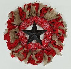 The Western Bandanna Wreath is a perfect addition to any country or rustic themed home!  They are so easy to make too!!  Find the supplies and instructions here!