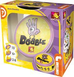 """Dobble è più di 50 simboli, 55 carte, 8 simboli per carta e sempre un solo simbolo in comune tra due carte qualsiasi. Sta a voi trovare quale.     Dobble comprende 5 mini-giochi basati sulla rapidità (""""La torre infernale"""", """"Il pozzo"""", """"La patata bollente"""", """"Prendile tutte!"""" e """"Il regalo avvelenato"""") in cui tutti i giocatori agiscono allo stesso tempo.  L'unica cosa che conta è divertirsi!"""