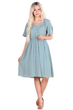 03e249b8ea1dd Aria Modest Easter Dress, Modest Nursing Dress in Sage Mint Green