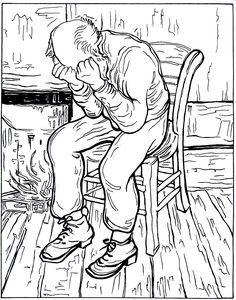 coloring page Vincent van Gogh on Kids-n-Fun. Coloring pages of Vincent van Gogh on Kids-n-Fun. More than coloring pages. At Kids-n-Fun you will always find the nicest coloring pages first! Cool Coloring Pages, Adult Coloring Pages, Coloring Books, Coloring Sheets, Free Coloring, Vincent Van Gogh, Desenhos Van Gogh, Van Gogh Arte, Artist Van Gogh