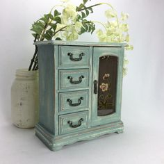 """$75+15. PRETTY JEWELRY BOX Blue Jewelry Organizer With Pink Velvet Lining Rustic Jewelry Chest Beach Cottage Jewelry Armoire. There are some stains on the pink velvet as shown in photo 4. So beach cottage, chic, rustic, SWEET!! Dimensions- 9"""" L 4 3/4"""" W 10 1/4"""" H."""