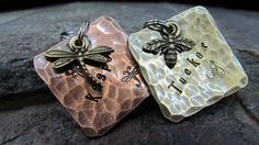 Pet ID tag - Pet tag - Dog tag - Square Copper/Brass - Personalized - Custom - Engraved - Dragonfly Charm - Bee Charm by themadstampers on Etsy
