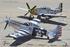 """5/4/2014-Planes Of Fame Airshow-Chino, CA: Veteran expert POF warbird pilot~Steve Hinton taxis-out for takeoff with North American Aviation P-51K-10NT Mustang """"Fragile-but-Agile"""" (#44-12016/NL98CF), painted in the WW2-era personal-markings of pilot~Lt. Bert Lee, Jr.–342nd-FS/348th-FG/FEAF~passing in front of Comanche Warbirds' NAA P-51D-25NA Mustang """"Double Trouble two"""" (#44-73856/NL7TF), painted-up as the original personal-mount of ETO Ace~Lt.Col William B…"""