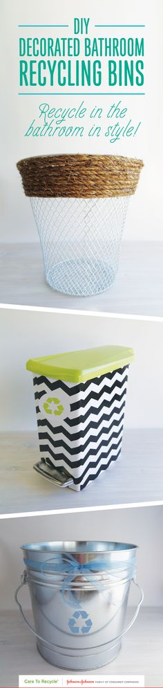 Keeping a recycling bin in the bathroom is an easy way to remember to recycle personal care items. Add decorations to unique containers to create a recycling bin for a bathroom makeover with stylish décor! #CARETORECYCLE
