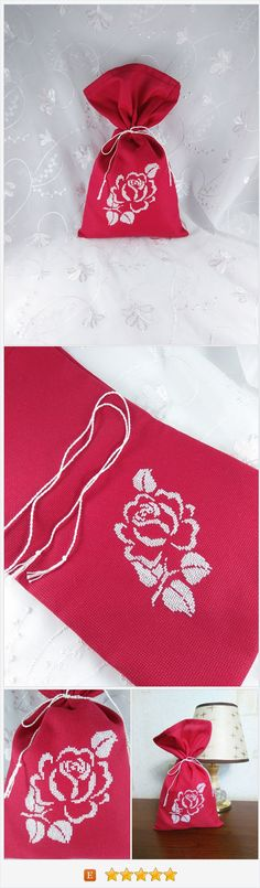 Embroidered rose Gift packaging bag Flower cross stitch Drawstring bag Sachet pouch Cute gift wrap Holiday gift bag Present sac Holiday case https://www.etsy.com/MilaCrossStitch/listing/523576678/gift-packaging-bag-embroidered-rose?ref=shop_home_feat_3