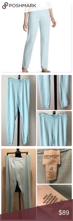 NWT Zenergy rib hem pants Frozen aqua. CHICO'S SIZE - Regular Size 4 (20/22, XXL). Elastic waistband. Ribbed trim detail.  qutrtwkp Chico's Pants