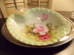 CHINA HANDPAINTED Candy/Nut Bowl Serving by VintageCreativeAccen