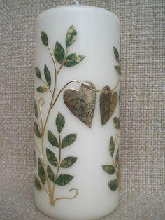 Hochzeitskerze mit Blätterranken  von Pfiffiges aus Heu, Wolle und Holz auf DaWanda.com