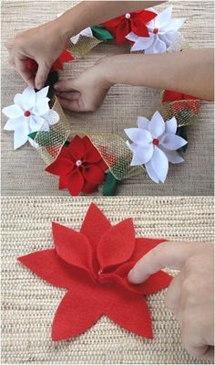 The 12 Best Diy Christmas Penny Hill - Selmin Özden - Christmas Diy Hill Day - Diy Crafts Diy - Diy Crafts - hadido Felt Christmas Decorations, Felt Christmas Ornaments, Christmas Wreaths, Christmas Crafts, Holly Christmas, Christmas Poinsettia, Felt Flowers, Diy Flowers, Fabric Flowers