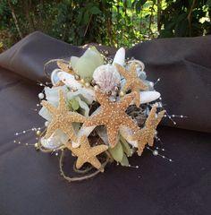 Playa de la boda, ramo de concha de mar, ramo de novias de concha, boda náutica, costera, ramo de playa, conchas, ramo de estrellas de mar, destino