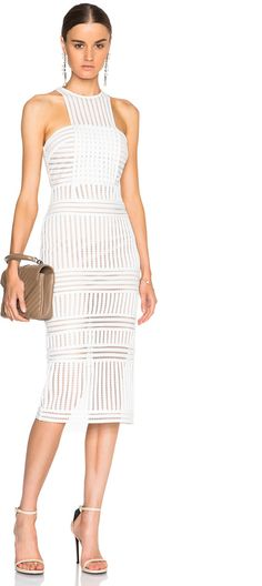 768f121c43f5 Shop for self-portrait Striped Mesh Dress in White   Nude at FWRD.