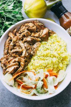 PULLED TANDOORI CHICKEN RICE BOWLSFollow for recipesGet your  Mein Blog: Alles rund um Genuss & Geschmack  Kochen Backen Braten Vorspeisen Mains & Desserts!