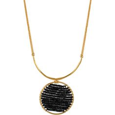 Kenneth Cole New York Black Faceted Bead Circle Pendant Necklace ($48) ❤ liked on Polyvore