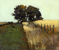 fenceline ~ oil ~ by marcus bohne  This is one style tree painting I especially like.
