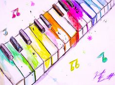 Watercolor Piano Keys Art Print