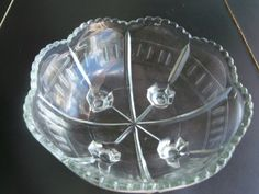 Glass Etched Bowl Elegant With Scalloped by VintageVintageStore