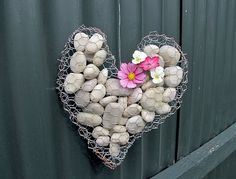 chicken wire and beach stone heart hanging ornament for home or garden ,nice gift for wedding or mothers day