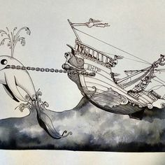 Inktober day 25 - Ship - #inktober #inktober2017 #inktoberday25 #inktoberprompts #ink #penandink #brushandink #brushpen #copic #bmitchleyart #koibrushpen #ship #character #comic #southafricanartist #southafrican #southafrica #artist #artistoninstagram #art #illustration #dailysketch #drawingink #whale #comedy South African Artists, Brush Pen, Copic, Inktober, Whale, Comedy, Ship, Photo And Video, Drawings
