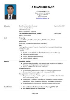 Exceptional Huu Bang S R 233 Sum 233 Sample Of Resume For Internship In Malaysia