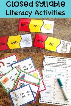 Closed Syllable Literacy Activities for phonics and decoding ideas in the elementary classroom. Students enjoy these word puzzles and task cards as they work with multisyllabic words #literacycenters #taskcards #phonics #readinginterventions #conversationsinliteracy #firstgrade #secondgrade #thirdgrade 2nd grade, 3rd grade 1st grade