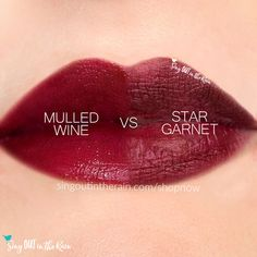 Compare Star Garnet vs. Mulled Wine LipSense using this photo.  Star Garnet is a Limited Edition LipColor by SeneGence.