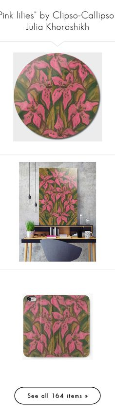 """""""""""Pink lilies"""" by Clipso-Callipso / Julia Khoroshikh"""" by clipso-callipso ❤ liked on Polyvore featuring home, home decor, bloom, flowers, lilies, pastel, pink home decor, rick owens lilies, pastel home decor and pink home accessories"""